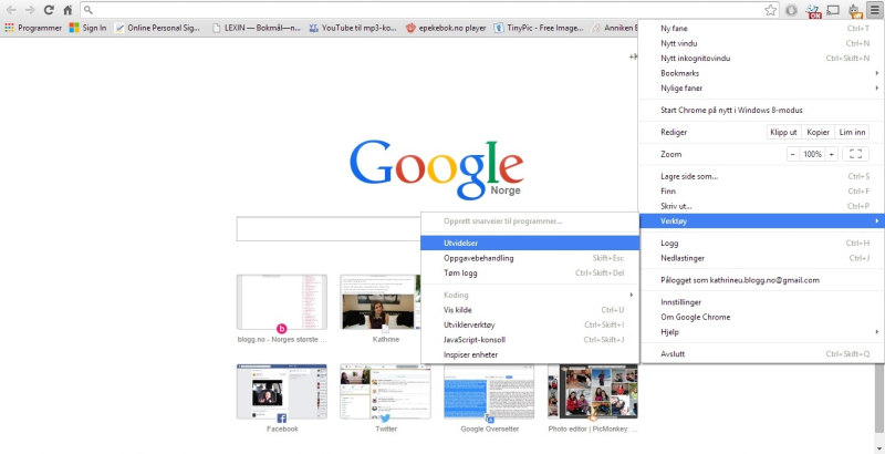 Chrome Utvidelser