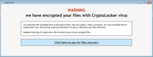 CryptoLocker advarselsbildet